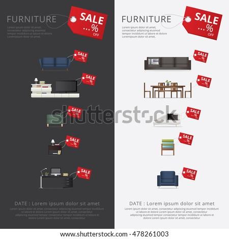 furniture sale banner. Banner Furniture Sale Advertisement Flayers Vector Illustration L
