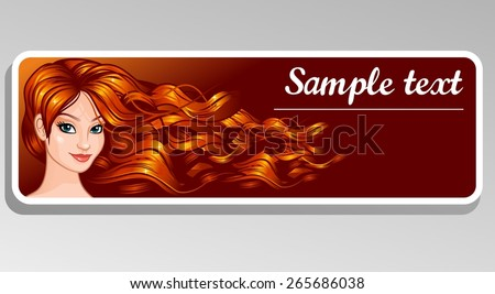 Banner girl with long hair - stock vector