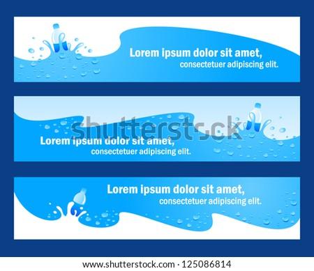banner header water aqua blue element / rgb, no transparent - stock vector