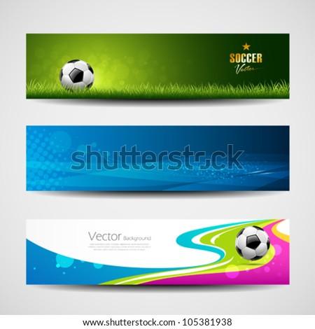 Banner headers soccer ball set design background, vector illustration - stock vector