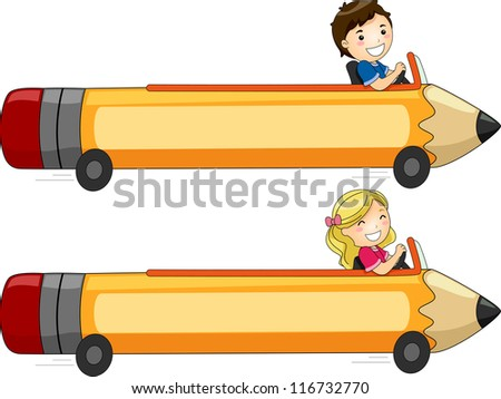 Banner Illustration Featuring Kids Driving a Pencil-Shaped Car - stock vector