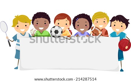 banner illustration featuring kids wearing different sports attires - Sports Images For Kids