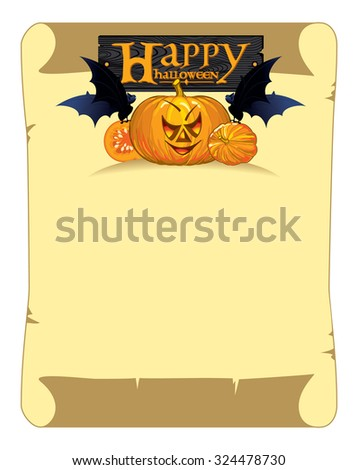 banner in the form of a scroll with congratulations happy Halloween, pumpkins and bats