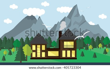 Banner mountain vector image - stock vector