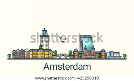 Banner of Amsterdam city in flat line trendy style. Amsterdam  city line art. All buildings separated and customizable. - stock vector