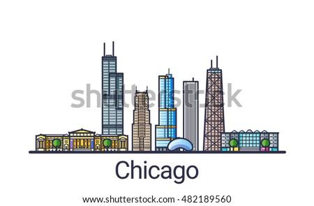 Line Art City : Banner chicago city skyline flat line stock vector