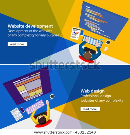 Banner of development and design sites. Designer developments of the website. Flat top view. Sketch of website. Programmer workplace. Designer workplace. Material design colors palette