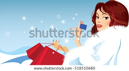 banner of fashionable girl in winter fluffy clothes holding a card in his hand , christmas fashion shopping