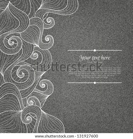 Banner on denim background with abstract hand-drawn pattern and place for your text in vector EPS 10. - stock vector