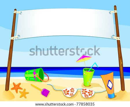 Banner on marine landscape, vector