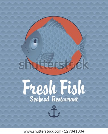 Banner on the background of the fish scales - stock vector