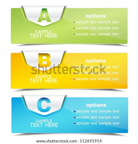 banner on the product description and more options - stock vector