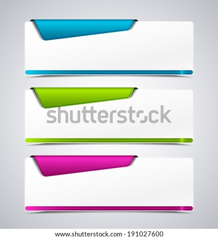 Banner on the product description with a space for text  - stock vector