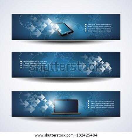 Banner or Header Design - Cloud Computing, Networks - stock vector