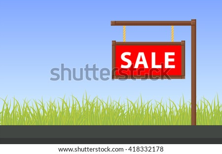 Banner property sale, flat vector illustration - stock vector
