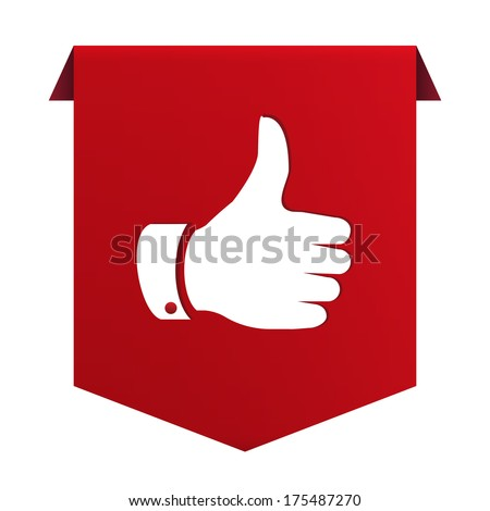 Banner ribbon Thumb up red icon isolated on white background. Vector illustration - stock vector