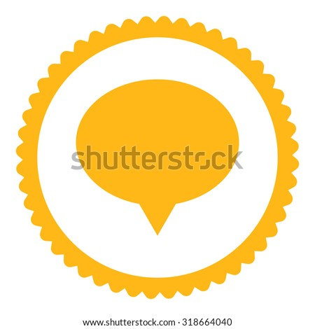 Banner round stamp icon. This flat vector symbol is drawn with yellow color on a white background.
