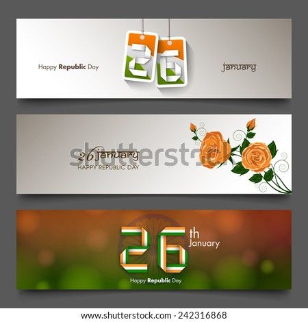 Banner set of Indian republic day,26 January. - stock vector