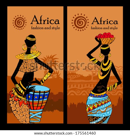 Banner set of travel. Tropical landscape. Beautiful black woman.African woman - stock vector