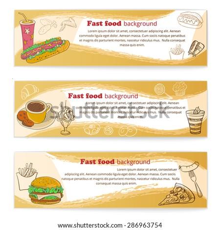 Banner set of vintage fast food backgrounds, badge and label - stock vector