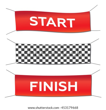 Banner set start finish illustration in flat style eps10