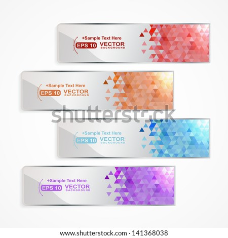 banner set with colored geometric pixel and shadow - stock vector