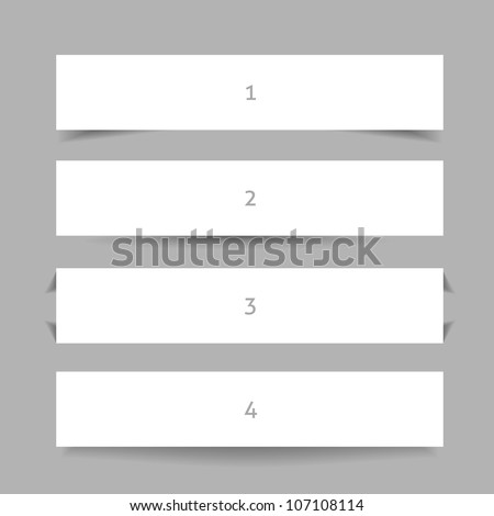 Banner shadow. Set of banners with different shadows. - stock vector