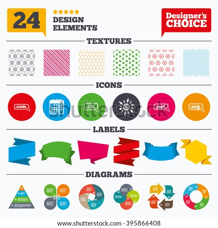 Banner tags, stickers and chart graph. Top-level internet domain icons. Com, Eu, Net and Org symbols with cursor pointer. Unique DNS names. Linear patterns and textures. - stock vector