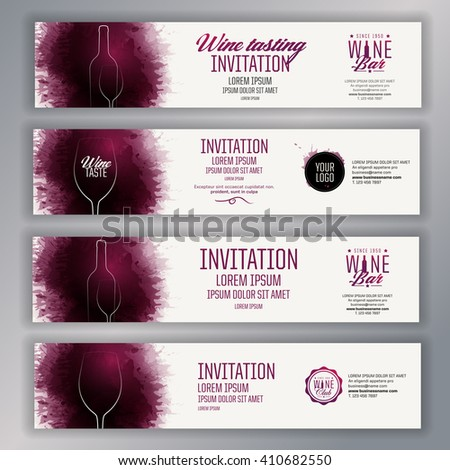 Banner template design. Idea for promoting wine events. Illustration glass and bottle of wine. Background with wine stains, expressive texture. Vector - stock vector