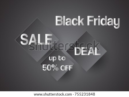 Banner template for Black Friday with text space on black and white background.