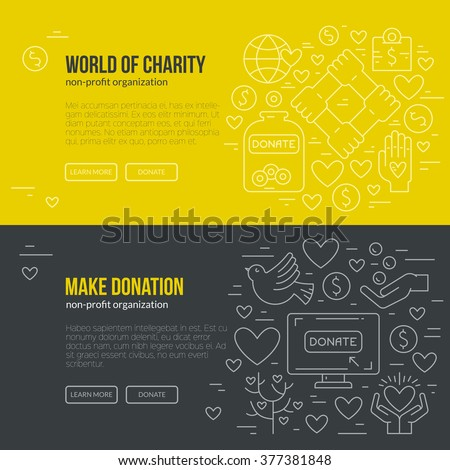 Banner template with charity and donation icons and symbols. Line style vector illustration. Charity work hro image or web site design for non-profit. - stock vector