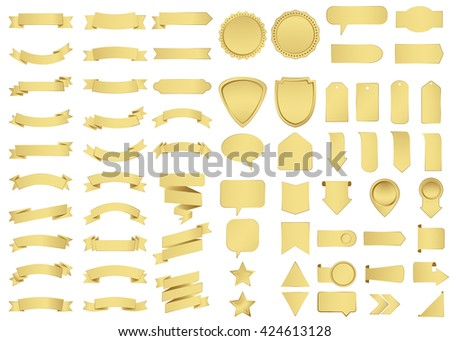 Banner vector icon set gold color on white background. Ribbon isolated shapes illustration of gift and accessory. Christmas sticker and decoration for app and web. Label, badge and borders collection. - stock vector