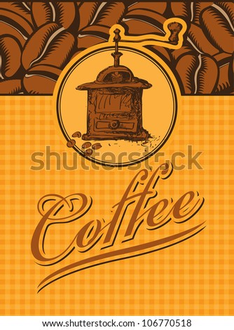 banner with a picture coffee grinder and beans - stock vector