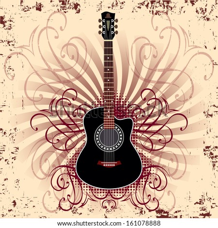 banner with acoustic guitar on beige background - stock vector