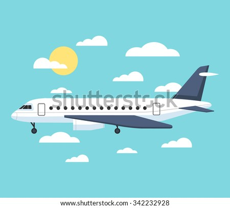 Banner with an airplane. Vector flat illustration - stock vector