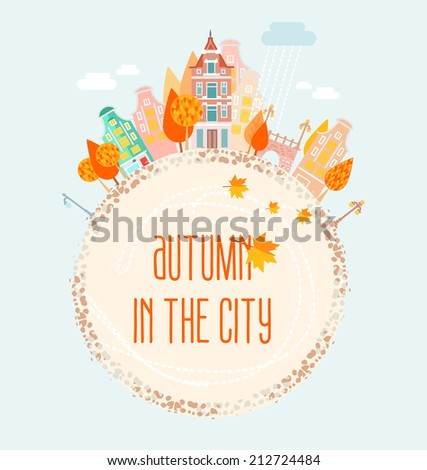 Banner with an autumn in the city. Vector illustration - stock vector