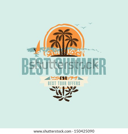 banner with an island in the sea and palm trees and the words best summer - stock vector