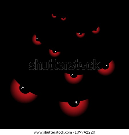Banner with big eyes at night - stock vector