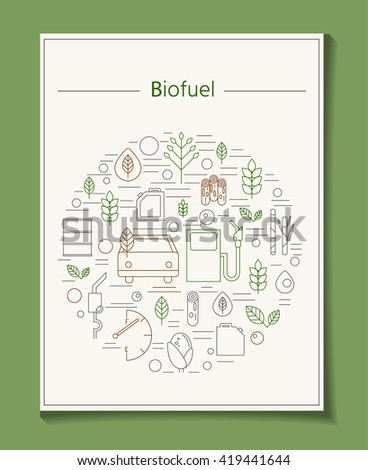 Banner with biofuels. Icons biological fuel and car. Environmental vector illustration. Nature conservation and green leaves - stock vector