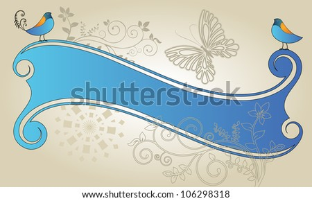 Banner with birds flourish and butterfly nature motif - stock vector
