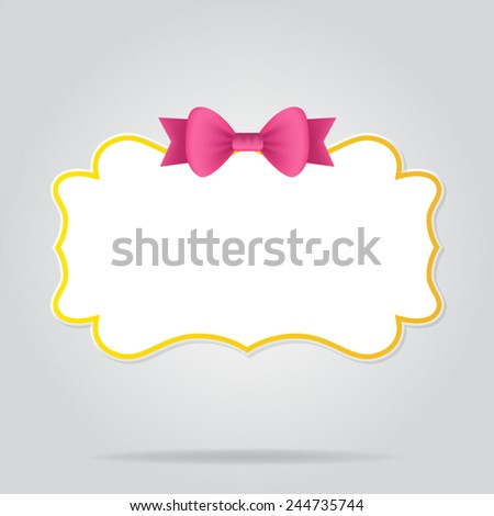 banner with bow - stock vector