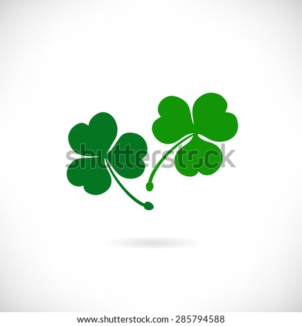 Banner with clover, trefoil. St. Patrick's day symbol. Decorative floral elements - stock vector