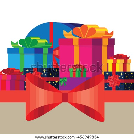 Banner with colorful, bright gift boxes. - stock vector