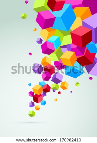 Banner with colorful cubes. Vector illustration