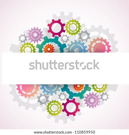 Banner with colorful gears - stock vector