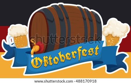 Banner with commemorative Germany flag with a keg and some beer mugs for Oktoberfest celebration.