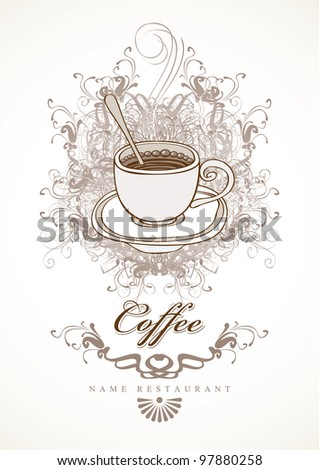 banner with cup of coffee on background with swirls - stock vector