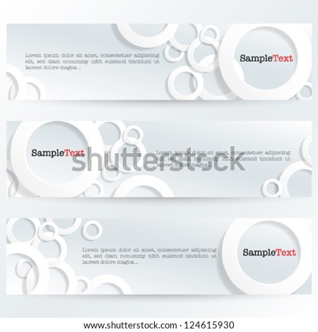 Banner With 3D Rings - white - stock vector