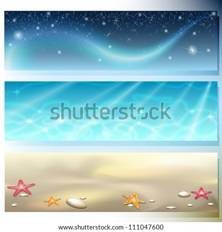 Banner with dark sky, brilliant sea and starry sand
