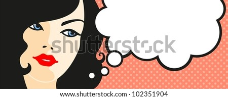 Banner with female face and thinking bubble - stock vector